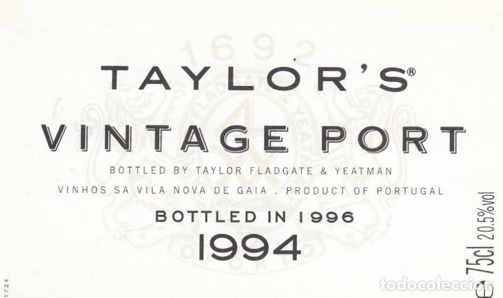 1011A- ETIQUETA - TAYLOR'S VINTAGE PORT 1994 - VILA NOVA DE GAIA, PORTUGAL (Coleccionismo - Etiquetas)