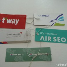 Etiquetas antiguas: AVION : BAGGAGE LUGGAGE TAGS SET AIRLINES FROM SOUTHKOREA ETIQUETA PRECINTO LABEL DE EQUIPAJE MALETA. Lote 254309085