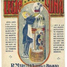 Etiquetas antigas: ETIQUETA PUBLICITARIA- LEJÍA LUNA. MARCILLA. LITOGRAFÍA LARRAURI. BILBAO- AÑOS 20 (RARA). Lote 258962115