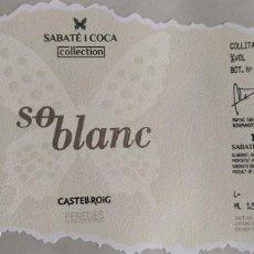 Etiquetas antigas: ETIQUETA VINO - SO BLANC, SABATÉ I COCA COLLECTION. CASTELLROIG PENEDES. Lote 259828085
