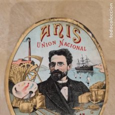 Etiquetas antigas: ETIQUETA DE ANIS UNION NACIONAL- LORENZO BERNAL. VALLADOLID. 17 ENERO 1900.. Lote 261537300