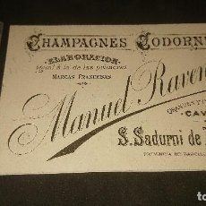 Etiquetas antiguas: ANTIGUA TARJETA 1892 CHAMPAGNES CODORNIU MANUEL RAVENTOS , LEER DESCRIPCION. Lote 261880980