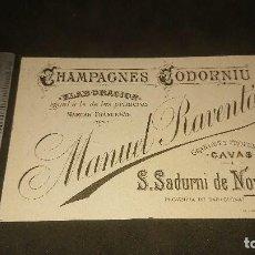 Etiquetas antiguas: ANTIGUA TARJETA 1892 CHAMPAGNES CODORNIU MANUEL RAVENTOS , LEER DESCRIPCION. Lote 261880985