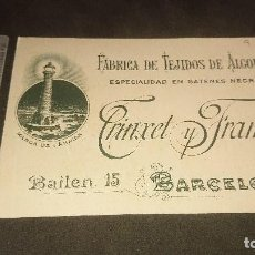 Etiquetas antiguas: ANTIGUA TARJETA 1898 FABRICA DE TEJIDOS DE ALGODON TRINXET Y FRAMIS , LEER DESCRIPCION. Lote 261881010