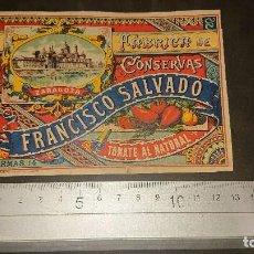 Etiquetas antiguas: ANTIGUA ETIQUETA 1897 TOMATE AL NATURAL , FABRICA DE CONSERVAS FRANCISCO SALVADO , LEER DESCRIPCION. Lote 262153530