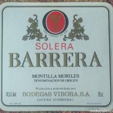 Etiquetas antiguas: ETIQUETA VINO BARRERA SOLERA BODEGAS VIBORA LUCENA CÓRDOBA. Lote 262340335