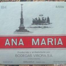 Etiquetas antiguas: ETIQUETA VINO ANA MARÍA BODEGAS VIBORA LUCENA CÓRDOBA. Lote 262343480