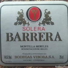 Etiquetas antiguas: ETIQUETA VINO BARRERA SOLERA BODEGAS VÍBORA LUCENA CÓRDOBA. Lote 262344085