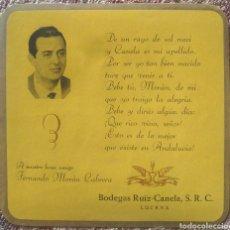 Etiquetas antiguas: ETIQUETA VINO EN MEMORIA FERNANDO MORAN BODEGAS RUIZ CANELA LUCENA CÓRDOBA. Lote 262344765