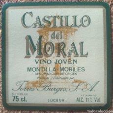Etiquetas antiguas: ETIQUETA VINO JOVEN CASTILLO DEL MORAL BODEGAS TORRES BURGOS LUCENA CÓRDOBA. Lote 262349285