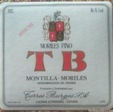 Etiquetas antiguas: ETIQUETA VINO FINO MORILES BODEGAS TORRES BURGOS LUCENA CÓRDOBA. Lote 262349625