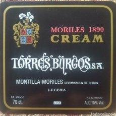 Etiquetas antiguas: ETIQUETA VINO CREAM MORILES BODEGAS TORRES BURGOS LUCENA CÓRDOBA. Lote 262350255