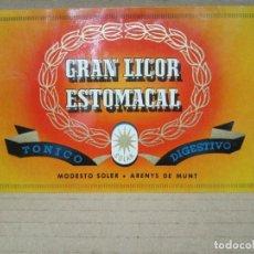 Etiquetas antiguas: ANTIGUA ETIQUETA, GRAN LICOR ESTOMACAL. Lote 262919995