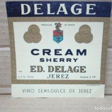 Etiquetas antiguas: ANTIGUA ETIQUETA, DELAGE CREAM SHERRY. Lote 262920295