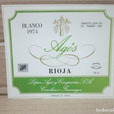 Etiquetas antiguas: ANTIGUA ETIQUETA, VINO BLANCO AGOS. Lote 262920425