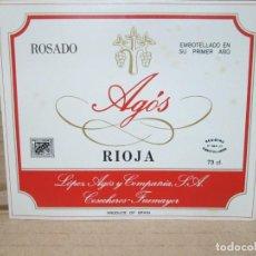 Etiquetas antiguas: ANTIGUA ETIQUETA, VINO ROSADO AGOS. Lote 262922565