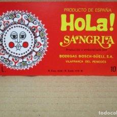 Etiquetas antiguas: ANTIGUA ETIQUETA, SANGRIA HOLA. Lote 262923435