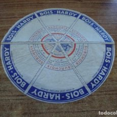 Etiquetas antiguas: ETIQUETA QUESO FORMAGE BOIS HARDY DE CHARENTE. Lote 263102860