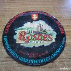 Etiquetas antiguas: ETIQUETA QUESO FORMAGE ROSNES DE MEUSE. Lote 263102890