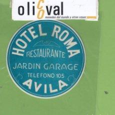 Etiquetas antiguas: ETIQUETA HOTEL ROMA AZUL TROQUEL 75 MM EH3295. Lote 263660120