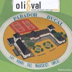 Etiquetas antiguas: ETIQUETA HOTEL ROMA AZUL PARADOR DUCAL LAS NAVAS DEL MARQUES AVILA TROQUEL 130 X 10 MM EH3296. Lote 263661515