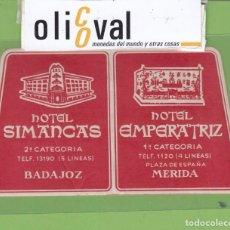 Etiquetas antiguas: ETIQUETA HOTEL SIMANCAS BADAJOZ EMPERATRIZ MERIDA TROQUEL 115 X 65 MM EH3297.8. Lote 263665060