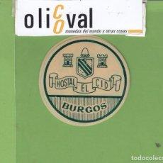 Etiquetas antiguas: ETIQUETA HOTEL HOSTAL EL CID BURGOS TROQUEL 53 MM EH3300. Lote 263669650