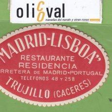 Etiquetas antiguas: ETIQUETA HOTEL MADRID LISBOA TRUJILLO CACERES TROQUEL OVAL ROJA 110 MM EH3305. Lote 263679885