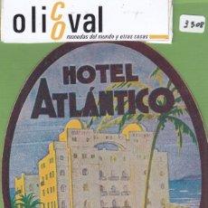 Etiquetas antiguas: ETIQUETA HOTEL ATLANTICO CADTZ AZUL CELESTE OVAL 100 X 135 MM EH3308. Lote 263682360