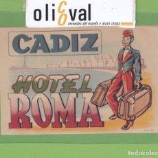 Etiquetas antiguas: ETIQUETA HOTEL ROMA FONDO AMARILLO ROYULACION BICOLOR 80 X120 MM EH3310. Lote 263710465