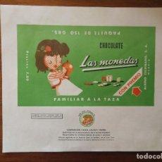 Etichette antiche: ENVOLTORIO / ETIQUETA CHOCOLATES LAS MONEDAS ( COLUMBA )- ALBINO ESCRIBANO ( MADRID ) VERDE SIN USO. Lote 265155159