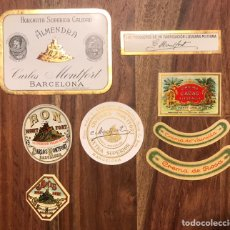Etiquetas antiguas: CONJUNTO ETIQUETAS BEBIDAS DESTILADOS CARLOS MONFORT BARCELONA RON GINEBRA HORCHATA. Lote 265431529