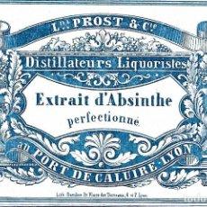 Etiquetas antiguas: ETIQUETA ABSINTHE EXTRAIT 1800-1820, MUY DIFÍCIL DE CONSEGUIR.. Lote 265788349