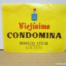 Étiquettes anciennes: ANTIGAUA ETIQUETA, VIEJISIMO CONDOMINA BODEGAS COZAR. Lote 266405933