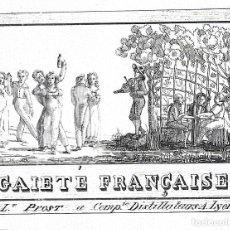 Étiquettes anciennes: ETIQUETA LICOR GAIETE FRANÇAISE, DE 1810-1820, LAS MÁS ANTIGUAS.. Lote 267657189