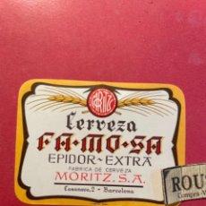 Etiquetas antiguas: CERVEZAS -ANTIGUA ETIQUETA MORITZ -CERVEZA FAMOSA EPIDOR EXTRA FABRICA DE CERVEA MORITZ S.A. CASANO. Lote 268737024
