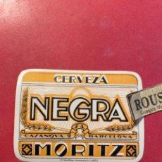 Etiquetas antiguas: CERVEZAS -ANTIGUA ETIQUETA MORITZ -CERVEZA NEGRA MORITZ .C. CASANOVAS 2 BARCELONA LITG. INDUSTRIAS. Lote 268737539