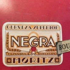 Etiquetas antiguas: CERVEZAS -ANTIGUA ETIQUETA MORITZ -CERVEZA SUPERIOR NEGRA MORIT C. CASANOVAS 2 BARCELONA. Lote 268739874