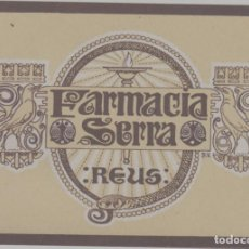 Etiquetas antiguas: LOTE A-ETIQUETA PUBLICIDAD FARMACIA REUS BARCELONA 10X7 CENTIMETROS. Lote 268911539