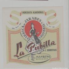Etiquetas antiguas: LOTE A-ETIQUETA PUBLICIDAD LICOR JARABE CIDRA LA PUBILLA MANRESA BARCELONA 10X10 CENTIMETROS. Lote 268911754