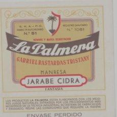 Etiquetas antiguas: LOTE A-ETIQUETA PUBLICIDAD LICOR JARABE CIDRA LA PUBILLA MANRESA BARCELONA 10X10 CENTIMETROS. Lote 268911774