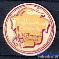 Etiquetas antiguas: ETIQUETA DE LA PAQUETERIA ESPAÑOLA, DE R.ARMENGOL, TERRASSA (5,3 X 5,3 CMS). Lote 268912664