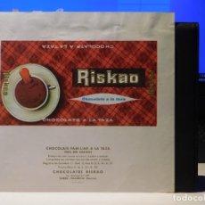 Étiquettes anciennes: ENVOLTORIO CHOCOLATE FAMILIAR A LA TAZA *RISKAO* 200 GRMS. TORRE-PACHECO (MURCIA) 1964. Lote 269119023