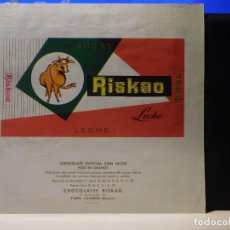 Étiquettes anciennes: ENVOLTORIO CHOCOLATE ESPECIAL CON LECHE *RISKAO* 90 GRMS. TORRE-PACHECO (MURCIA) 1964. Lote 269119208