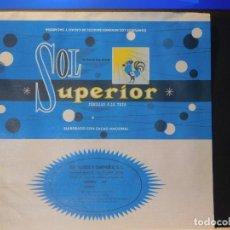 Étiquettes anciennes: ENVOLTORIO CHOCOLATE FAMILIAR A LA TAZA *SOL SUPERIOR* 150 GRMS. ORENSE. 1967. Lote 269124763