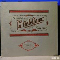 Étiquettes anciennes: ENVOLTORIO CHOCOLATE FAMILIAR A LA TAZA *LA CASTELLANA* 200 GRMS. SEGOVIA. 1964. Lote 269149393
