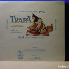Etiquetas antiguas: ENVOLTORIO CHOCOLATE CON LECHE Y FRUTOS SECOS *TRAPA* 150 GRMS. PALENCIA. 1966. Lote 269161598