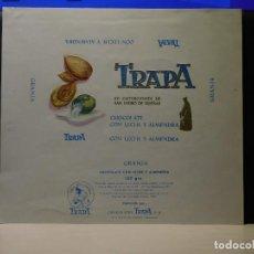 Etiquetas antiguas: ENVOLTORIO CHOCOLATE CON LECHE Y ALMENDRAS *TRAPA* 150 GRMS. PALENCIA. 1966. Lote 269161753