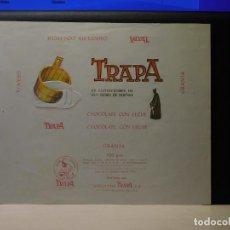 Etiquetas antiguas: ENVOLTORIO CHOCOLATE CON LECHE *TRAPA* 150 GRMS. PALENCIA. 1966. Lote 269161808