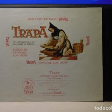 Etiquetas antiguas: ENVOLTORIO CHOCOLATE FAMILIAR CON LECHE *TRAPA* 150 GRMS. PALENCIA. 1966. Lote 269161873